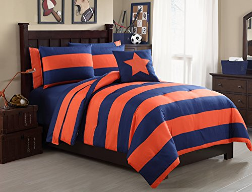 Full Size BED-IN-A-BAG Reversible in Orange / Navy Color Blocked 8 Pc Set w/ - Navy Blue And Orange