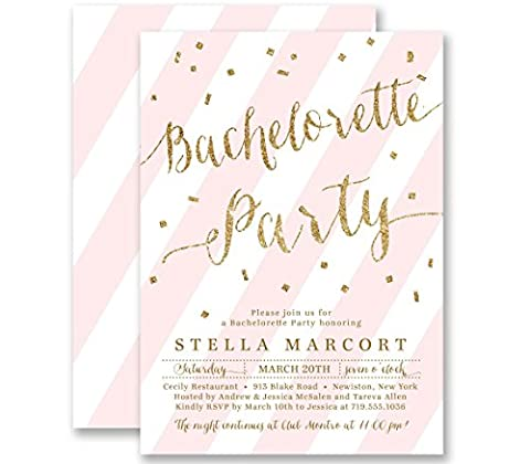 Bachelorette Party Invitations Blush Pink Striped Gold Glitter Look Personalized Boutique Invites with Envelopes- Stella - Lingerie Party Invitation