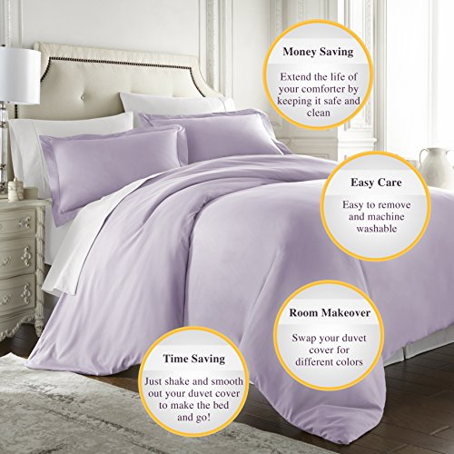 HC COLLECTION Hotel Luxury 3pc Duvet Cover Set-1500 Thread Count Egyptian Quality Ultra Silky Soft Premium Bedding Collection-King Size Lavender