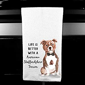 Watercolor Life is Better with a American Staffordshire Terrier Microfiber Kitchen Tea Bar Towel Gift for Animal Dog Lover 4