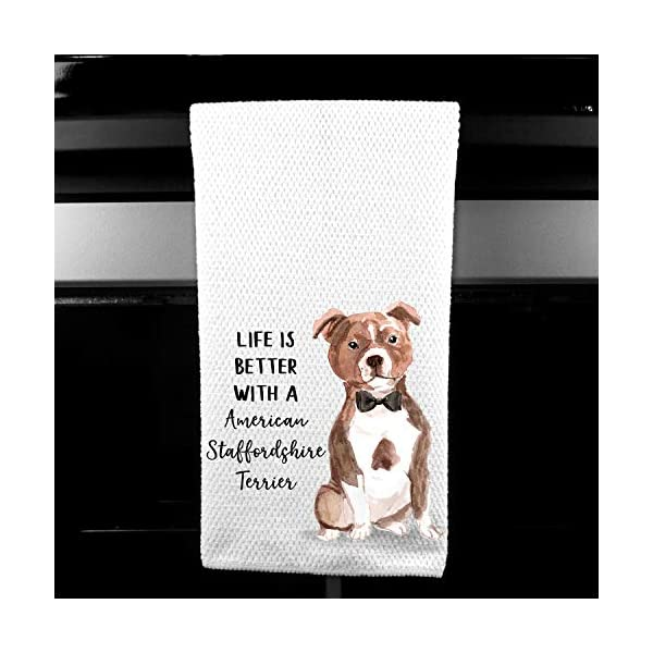 Watercolor Life is Better with a American Staffordshire Terrier Microfiber Kitchen Tea Bar Towel Gift for Animal Dog Lover 1