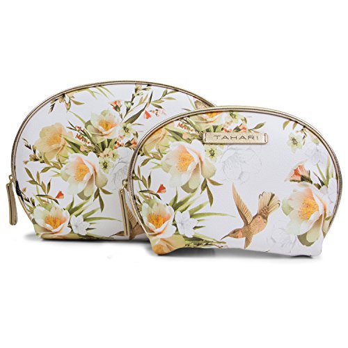 Tahari 2 Piece Dome Set Womens Cosmetic Bag Makeup Organizer (2 Toiletry Bags, Large and Small) (Champagne (Designer Dome)