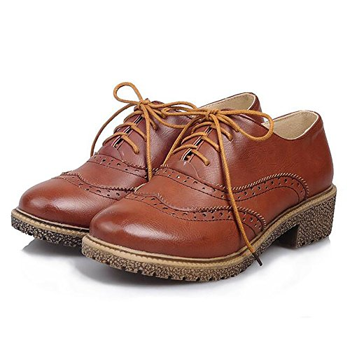COOLCEPT Damen Mode Brogue Schuhe Brown