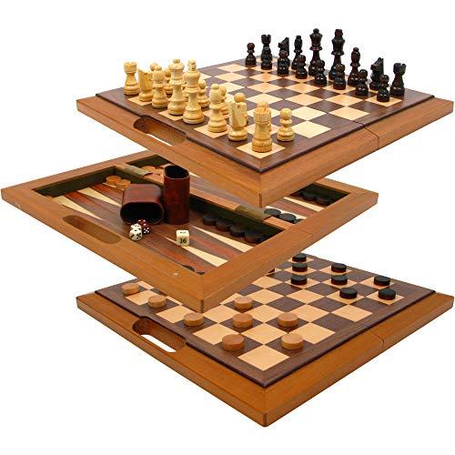 Deluxe Folding Chess Set - Folding Wood 3-in-1 Combo Chess, Checker & Backgammon Set - Includes Bonus Dice!