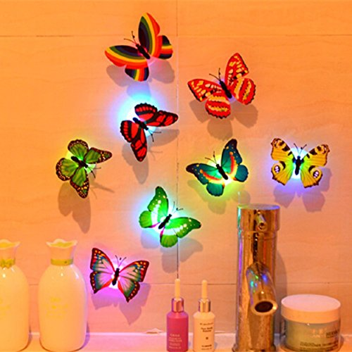 Ikevan 10 Pcs Wall Stickers Butterfly LED Lights Wall Stickers Colorful Light 3D Simulation butterfly Luminous Wall stickers House Kid Bedroom Decoration]()