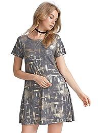 Women's Metallic Tunic Dress Dazzling Fashion Shift Dress Plus Size Dress