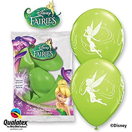 Disney Tinker Bell 12 Lime Green Qualatex Latex Balloons x 6 by Tinker Bell