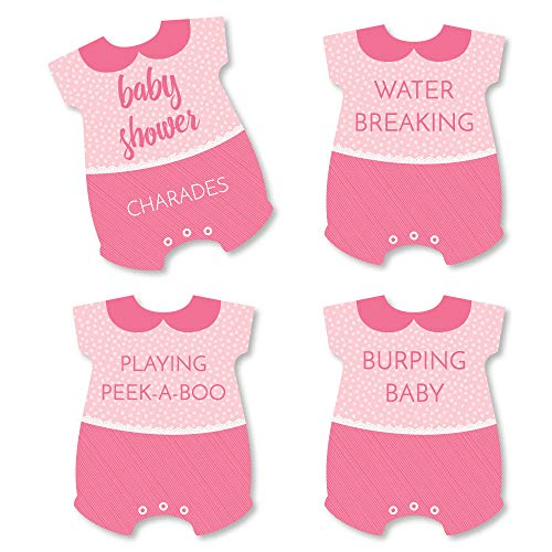 Baby Shower Charades (Big Dot of Happiness Baby Girl - Pink Baby Shower Game - Baby Charades Cards - Set of)