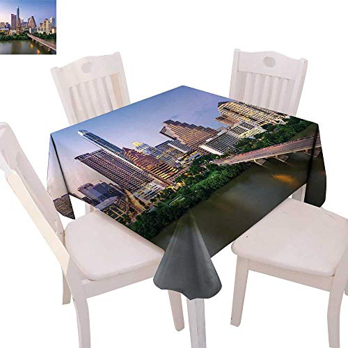 cobeDecor Modern Customized Tablecloth Austin Texas American City Bridge Over The Lake Skyscrapers USA Downtown Picture Tablecloth That can be Used as a Tapestry 36