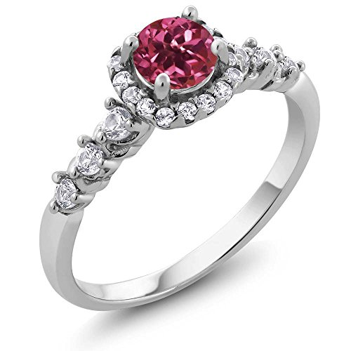 Gem Stone King 925 Sterling Silver Pink Tourmaline and White Created Sapphire Women's Ring 0.92 Ctw Round Cut (Size -
