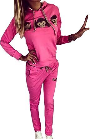 TALLA S (Busto 84 CM). Chandal Mujer Mujeres Chándales con Capucha Conjunto Chandal Chándal Señora Conjuntos Deportivos de Manga Larga Pantalones Sudadera Sudaderas Deportivas Deportistas Impreso Chicas Moderno