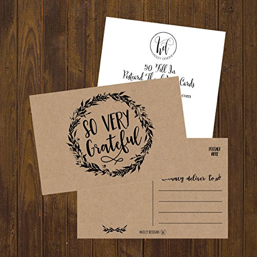 50 4x6 Rustic Kraft Thank You Postcards Bulk, Cute Matte Floral Thank You Note Card Stationery Set For Wedding, Bridesmaid, Bridal or Baby Shower, Teachers, Appreciation, Religious, Business, Holidays Photo #2