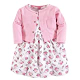 Luvable Friends Baby Girls Dress Cardigan Set, Pink Floral, 3-6 Months (6M)