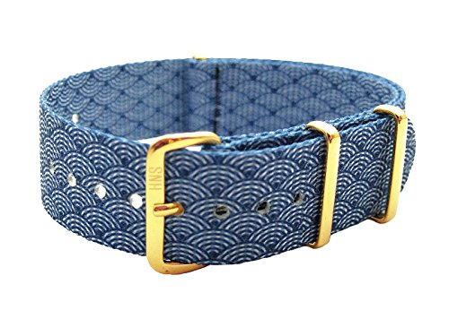 HNS 20mm Double Graphic Printed Indigo Sashiko Waves Blue Nylon Watch Strap Gold Buckle NT128