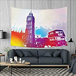 Anniutwo London Home Decorations for Living Room Bedroom Historical Big Ben and Bus Great Bell Clock Tower UK Europe Street Landmark Wall Tapestry W80 x L60 (inch) Purple Red Yellow