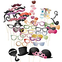 Neewer® 58PCS Colorful Props Photo Booth with Stick Mustache Glasses Hats Flavor Fun for Party, Prom, Wedding, Birthday, Christmas