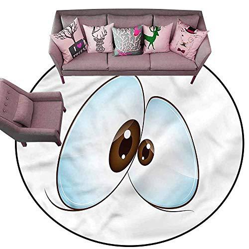 """Soft Area Rug for Children Baby Eye,Funny Cross-Eyed Mascot Diameter 48"""" Round Custom Floor mats"""