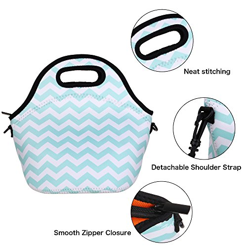 Kaptron Neoprene Lunch Bag, Thick insulated Lunch Tote Lunch Box Bag with Shoulder Straps and Bottle Holder/Cover for adults, women, girls, school children - Suitable for Travel, Picnic, Office