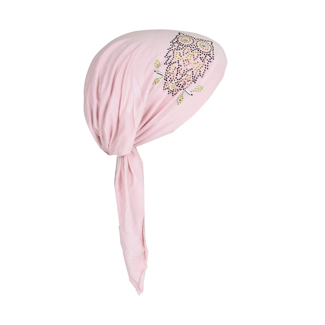 Owl Applique on Child's Pretied Head Scarf Cancer Cap - Light Pink