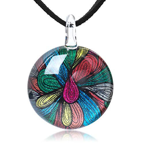 Chuvora Hand Blown Glass Jewelry Multi-Colored Abstract Flower Art Round Pendant Necklace 17-19 inches