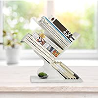WSTECHCO Wood Desktop Storage Organizer Display Shelf Rack, Countertop White Bookshelf Home Decor Free Style Rotation Display Book Storage Rack