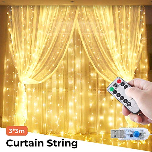 Curtain String Lights,USB Powered Copper Wire Fairy Lights, Remote 8 Modes Twinkle Lights for Christmas Tree Kids Bedroom Wedding Holiday Wall Decorations - 300LEDs 8 Modes 9ft x 9ft,Warm White