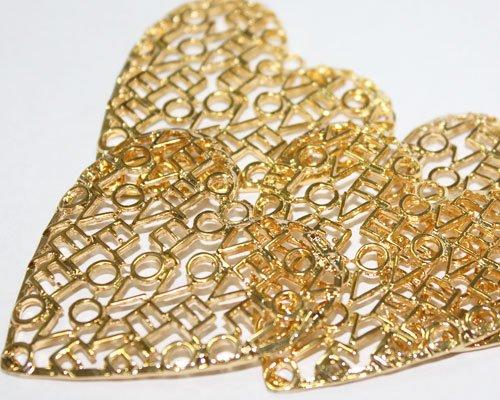 Amazon.com: Paquete 3 Dijes Corazon Love Love Goldfilled 14/20, De 5,2cm De Ancho: Home & Kitchen