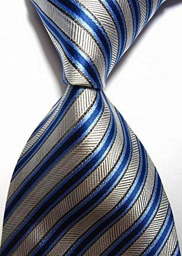 Scotch Collection® Modern Ties New Classic Stripes Silver Blue Black 100% Silk Men's Necktie