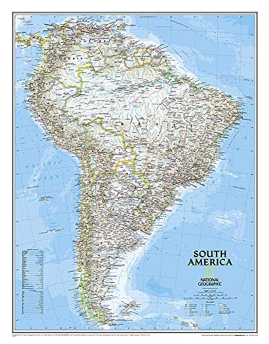 National Geographic: South America Classic Wall Map - Laminated (23.5 x 30.25 inches) (National Geographic Reference Map)