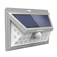 [Version Argenté] 24 LED Lampe Solaire Extétieur Etanche sans Fil Mpow Luminaire Exterieur 528 Lumens Détecteur de Mouvement avec Trois Modes Intelligents 270° Grand Angle