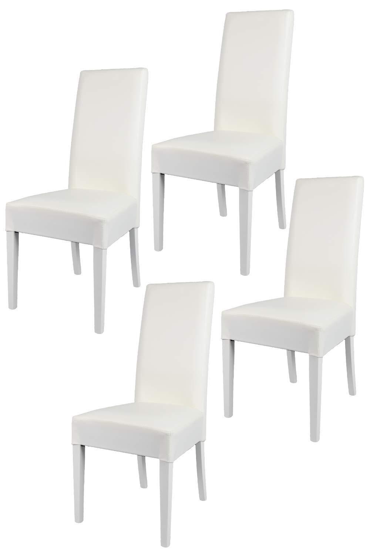 Tommychairs sillas de Design - Set de 4 sillas Luisa para Cocina, Bar y Restaurante, con Estructura en Madera de Haya y Asiento tapizado en Polipiel Blanco