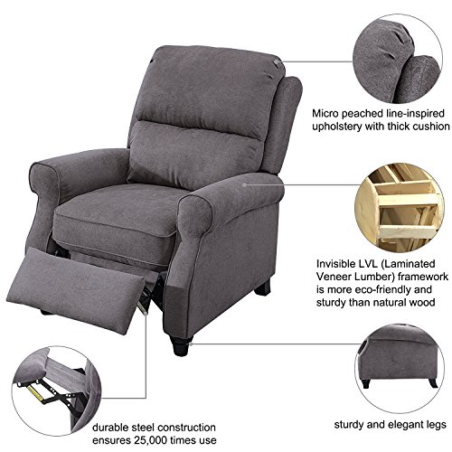 BONZY Recliner Roll Arm and Easy to Push Mechanism Recliner Chair - Warm Gray