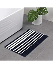 Fringe Microfiber Velvet Bath Rugs, Anyshock Softer Non Skid Absorbent Bath Mat 20x31 Inch Navy Blue Small Carpet for Shower Bathroom Door Hallway Entry Dorm Indoor Outdoor (20x31 inch)