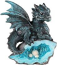 StealStreet Le Elegant SS-G-71581 Figura Decorativa de dragón Medieval Azul con Nido de Huevo de Cristal, 7871