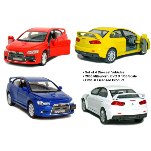 set-of-4-5-2008-mitsubishi-lancer-evolution-x-136-scale-blue-red-white-yellow