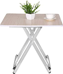 Adjustable Folding Table,Portable Folding Table Home Dining Table Casual and Convenient Folding Table [Ship from USA Directly]