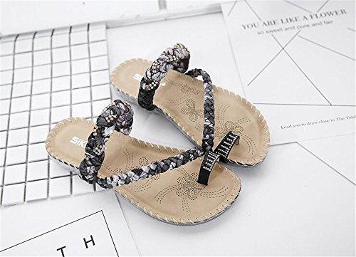 Summer Flats Women's Shoes Women Casual Flops Black Fashion flip Beach Shoes Woman Sandals pit4tk 6nXZWfxE6