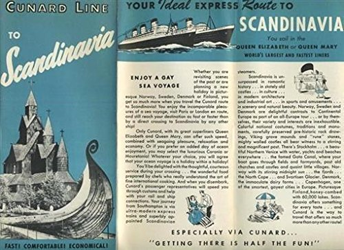 - Cunard Line Cruises to Scandinavia Brochure 1952 Queen Elizabeth