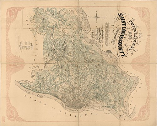 Vintage 1857 Map of New topographical map of Saint Louis, Missouri - Shows names of some residents, towns, houses, river, creeks, etc. - Relief shown by contours. - Copy imperfect: ()