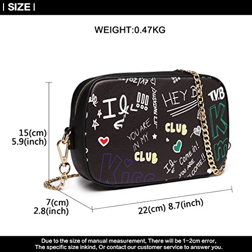 Graffiti Chain Bag Leather Handbags Lulu Small Fashion Shoulder for Pu Miss Black Women Girl Bag Crossbody TqIgxtx