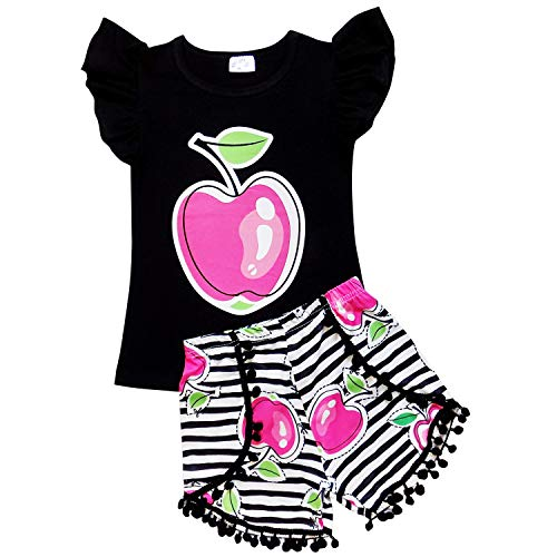 So Sydney Toddler & Girls Apple Back to School Collection Skirt Set, Dress or Outfit (M (4T), Apple Pom Shorts Set) -