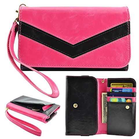 caseen ViVi Women's Smartphone Wallet Clutch Wristlet Case (Pink/Black) for LG Optimus L90 L9 F6 F3Q F3, Samsung Galaxy Rugby Pro Avant Exhibit Light S4 SIII mini, HTC Desire 610, KYOCERA (Phone Case For Lg Optimus F3q)