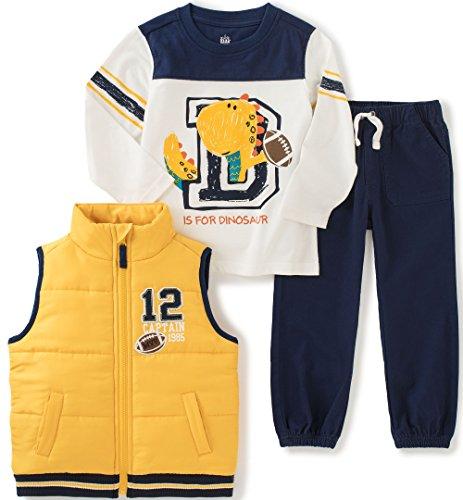 Kids Headquarters Little Boys 3 Pieces Vest Set - Rib Detail On Tee, Yellow, 5