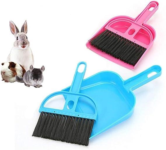 Hyihe - Juego de 2 cepillos para escoba y recogedor de mascotas, kit de limpieza para suelo, utensilios de limpieza para conejos, cobayas, reptiles, erizos, hámsteres y otros animales pequeños: Amazon.es: Productos