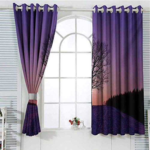Nature Patio Door Curtains for Bedroom Oak Tree at Sunset Frozen Wintertime Snowy Field Evergreen Forest Evening Scenery Thermal Insulated Noise Reducing W72 x L107 Inch Purple Peach (Patio Doors External Oak)