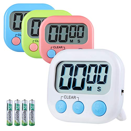 Hhyoisn 4 Pack Digital Kitchen Timer, Cooking Timers, Simple Operation, Large Display, Loud Alarm, Magnetic Backing Stand, Minute Seconds Count Up Countdown for Kids Games School Teacher Office (4)