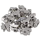 BQLZR Silver Carbon Steel Hammer Head Drop In T Nuts M6 Thread for European Standard 40 Series Aluminum Profile Extrusion Slot Pack of 30