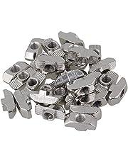 Cabeza de martillo de acero al carbono plateado, gota en T Tuercas, rosca M6 para el paquete de ranuras de extrusión de perfil de aluminio estándar europeo serie 40 de 30