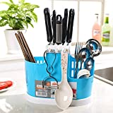 knife and spoon holder - Pixco Home Use Kitchen Tool Knife Spoon Chopsticks Fork Multifunction Storage Box Rack Cutlery Holder Plastic for Kitchen Countertop/Dining Table Storage by (Blue)