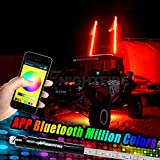 Night Fire 5FT RGB LED Whip Lights LED Antenna Dune Flag Pole Light APP Bluetooth Control 1.5M Multi-color For Polaris RZR UTV ATV Racing Motorcycle Offroad Truck (One Whip)